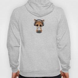 Cute Red Fox Cub Dj Wearing Headphones on Blue Hoody