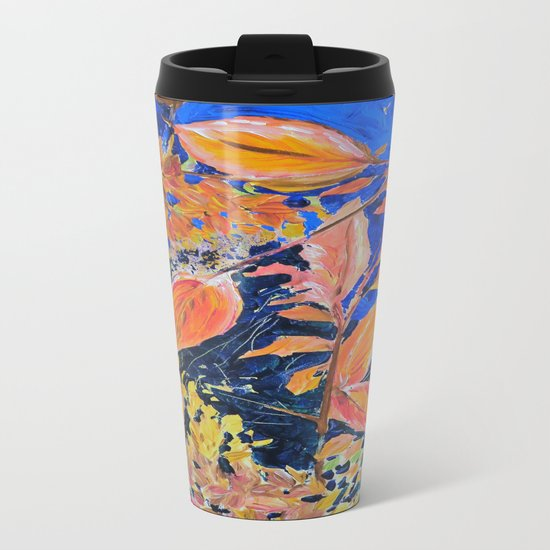 colored autumnleaves under the blue sky Metal Travel Mug