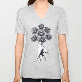 Hand with lotuses Unisex V-Neck