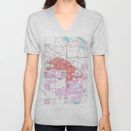 Vintage Map of Fort Collins Colorado (1960) Unisex V-Neck