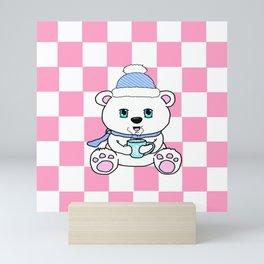 Polar Bear Drinking Hot Chocolate Mini Art Print