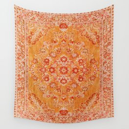 Orange Boho Oriental Vintage Traditional Moroccan Carpet style Design Wall Tapestry