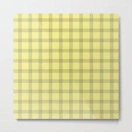 Black Grid on Pale Yellow Metal Print