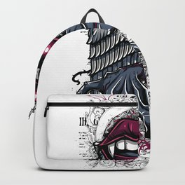 Succubus Mouth Wing Engraved Flowers Backpack