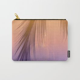 Palm Leaf Silhouette Orange Violet Background #decor #society6 #buyart Carry-All Pouch