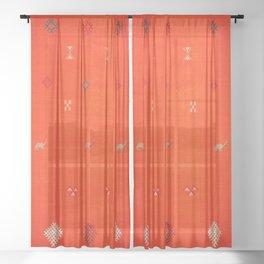 (N6) Vintage Orange Anthropologie Moroccan Artwork. Sheer Curtain