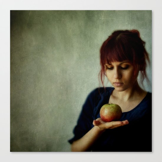 the girl with the apple Canvas Print