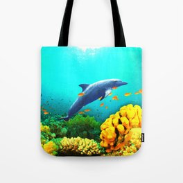 Dolphin in Water Tote Bag