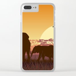 elephants in the African meadow Clear iPhone Case