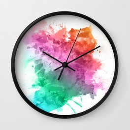 Watercolour splatter in rainbow colours Wall Clock