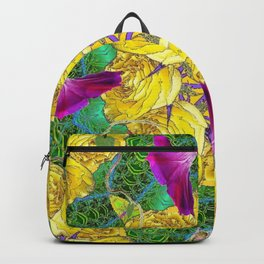 MYSTIC YELLOW ROSES MORNING GLORIES GREEN ART Backpack