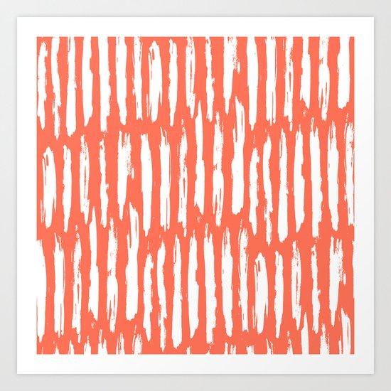 Vertical Dash White on Deep Coral Art Print