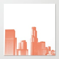 downtown Los Angeles skyline print, coral Canvas Print