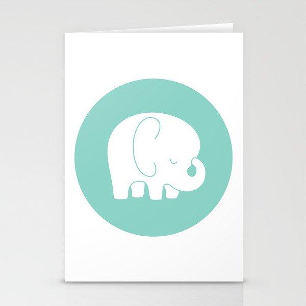 Mod Baby Elephant Teal Stationery Cards