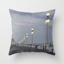 Rainy Boardwalk Throw Pillow