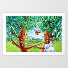 Cherry Tree Couple Art Print