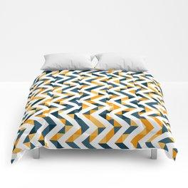 Chevron Oranges and Ink - Geometric Pattern Comforters