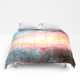 Pink, blue, orange mosaic stained glass background Comforters