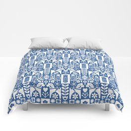 Swedish Folk Art - Blue Comforters