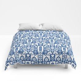 Swedish Folk Art - Blue Comforters