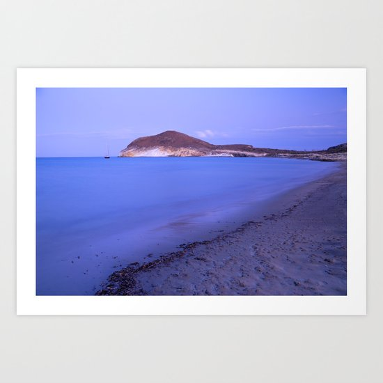 """Blue sea at sunset"" Art Print"