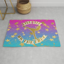 Figure Skating Live Life on the Edge in Gold with Stars and a Pink to Blue Gradient Background Rug
