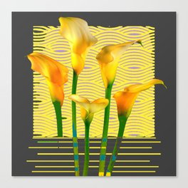 Modern Charcoal Grey Golden Calla Lilies Art Canvas Print