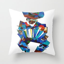 Accordion Player In Cubist Style Throw Pillow