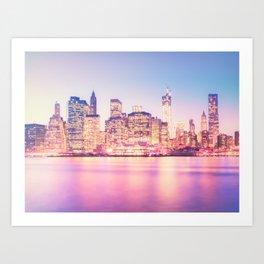 New York City Skyline - Lights Art Print