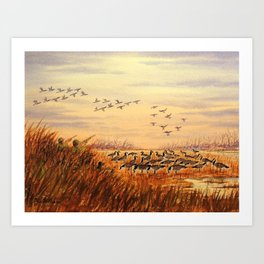 Goose Hunting Companions Art Print