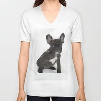 french bulldog V-neck T-shirts featuring French Bulldog by Three of the Possessed