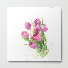 Watercolor bouquet of pink tulips Metal Print