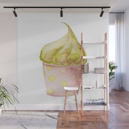 Watercolor Ice Cream Green Wall Mural