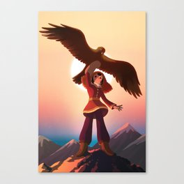 Mongolian Huntress with her Eagle Canvas Print