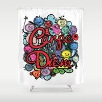 carpe diem Shower Curtains featuring Carpe Diem by Cindys