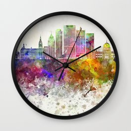 Milwaukee V2 skyline in watercolor background Wall Clock