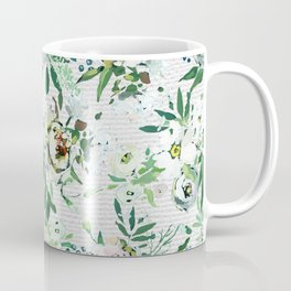 Elegant botanical blush pink pastel green watercolor floral Coffee Mug