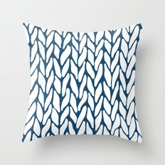 Hand Knitted Navy Throw Pillow