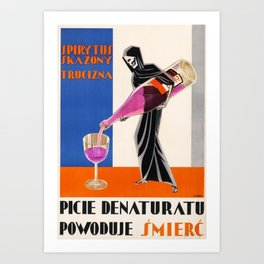 Vintage 1930 Drinking Absinthe Causes Death Alcoholic Beverage Advertising Poster Art Print