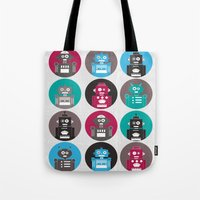 robots Tote Bags featuring Robots by Kakel