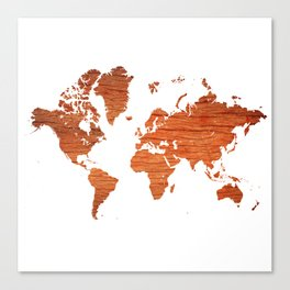 Wood World Map Canvas Print
