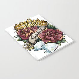 Queen of Diamonds vector tattoo illustration Notebook