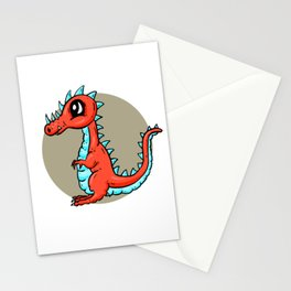 Dino Time! - The Calm Little Red Dragon Stationery Cards
