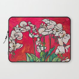 Orchid in Blue-and-white Bird Pot on Red after Matisse Laptop Sleeve