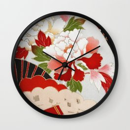 Japanese Floral Wedding Kimono Pattern Wall Clock