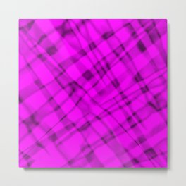 Bright metal mesh with pink intersecting diagonal lines and stripes. Metal Print