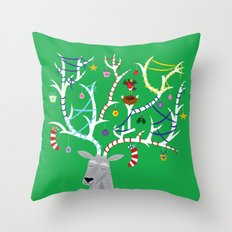 The Reindeer and The Robin Throw Pillow
