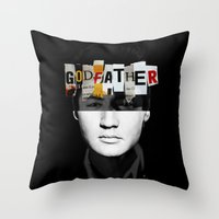 the godfather Throw Pillows featuring Godfather Mix 2 black by Marko Köppe