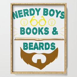 """""""Nerdy Boys Books And Beards"""" tee design for beard lovers like you! Makes a unique gift too!  Serving Tray"""