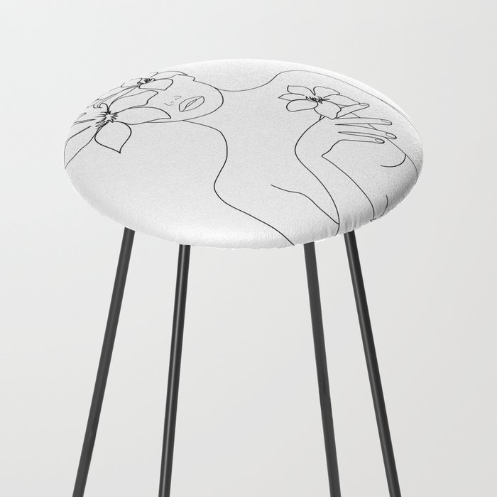 Minimal Line Art Woman with Flowers IV Counter Stool